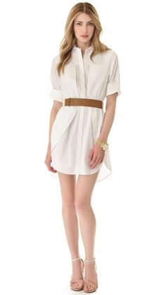 Halston Heritage Belted Shirtdress: cool shirttail hem makes this less plain