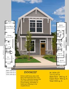Innskeep This Portland Ready Skinny House Plan has been thoughtfully designed to maximize efficiency Basement House Plans, Bungalow House Plans, Ranch House Plans, New House Plans, Modern House Plans, House Floor Plans, Narrow Lot House Plans, Vintage House Plans, Modern Farmhouse Plans