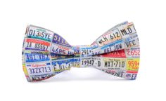 LICENSE PLATES printed bow tie! Certificated cotton, high quality print.