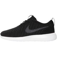 Nike Men Roshe Two Flyknit Sneakers ($190) ❤ liked on Polyvore featuring men's fashion, men's shoes, men's sneakers, black, mens sneakers, mens shoes, nike mens shoes and nike mens sneakers