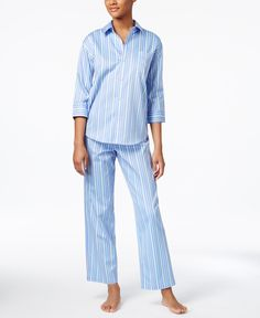 Lauren Ralph Lauren Three-Quarter-Sleeve Top and Pants Printed Cotton Pajama Set