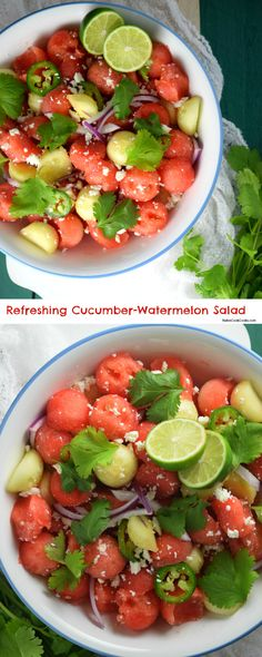 Refreshing Cucumber-Watermelon Salad (Fresh & sweet watermelon, crispy cucumber, spicy jalapenos tossed together with feta cheese and simple olive oil dressing for a refreshing salad!) NaiveCookCooks.com