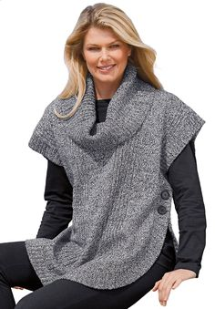 Our ultracomfortable cowl neck plus size sweater is a fantastic piece for layering in winter. As you can see, the fit alllows for total freedom. dropped shoulders provide extra comfort, open on sides for ease 30 long, a great length for tunics and sweaters, falls to upper thigh ribbed-trim cowl neck fis like having a built-in cozy scarf short raglan sleeves are roomy and freeing curved hem, ribbed sides and hem; side buttons soft, comfortable washable cotton/acrylic, imported try it wi...