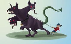 Taking Cerberus for a walk by Paul Jay Nicholson for Sketch Dailies