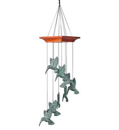 8-Chime Cast-Metal Hummingbird Spiral Wind Chime In A Verdigris Finish