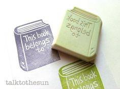 bookplate rubber stamp. ex libris stamp. this book belongs to. hand carved rubber stamp. book shape.