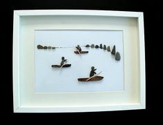PISCES Pebble art kayakers image 30 x 40 framed