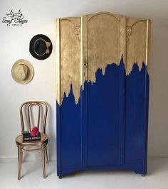 gold blue painted  wardrobe - painted furniture
