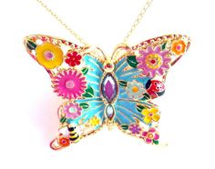 Butterfly Pendant Necklace, Aqua Pink Yellow Green Gold Flowers Butterfly Pendant, Spring Summer Fun Colorful, Mothers Day