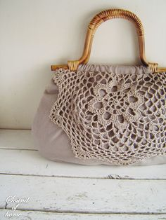 Linen crochet doily lace wood bag mori girl shabby chic handmade zakka