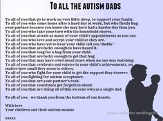 This made me tear up. So thankful for my husband. To All Autism Dads #autism