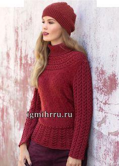 Красный свитер с круглой кокеткой из кос и шапочка. Вязание спицами