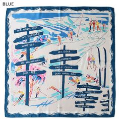 「WINTER VACATION」BLUE  silk scarf 【the PORT by marca】 #scarf  #silk_scarf  #Skiing #Snowy_mountains #art #illustration #outdoor_print #outdoor  #POP #hand_printed_textiles  #made_in_japan #yokohama #スカーフ #スキー #雪山 #シルクスカーフ #手捺染 #日本製 #横浜 #レトロ