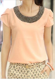 beaded collar blouse