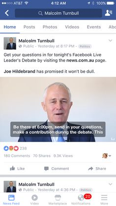 Malcolm Turnbull asks for questions from FB for the first online leaders debate