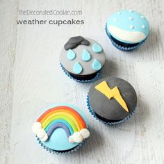 fondant-topped WEATHER cupcakes!