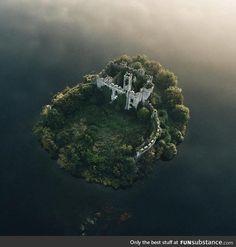 Beautiful castle on island in Ireland