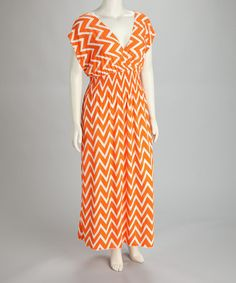 Love this Orange Zigzag Maxi Dress - Plus on #zulily! #zulilyfinds