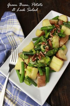 This Green Bean, Potato & Leek Salad is tossed in olive oil and a red wine vinaigrette. We added a walnut/pecan topping, which gives it lovely rustic flavor. This is a wonderful side dish for your next picnic or BBQ. Farm Fresh To You recipes.