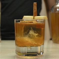 People looking to try their hand at an awesome Bourbon-based mixology cocktail need to check out this Grandma's Apple Pie recipe. This wild whiskey mixology drink combines bourbon, Licor 43, créme de cacao, apple juice, and grated cinnamon, and is honestly one of the tastiest boozy apple juice drinks out there.