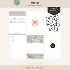 Road Trip journaling cards by Paislee Press