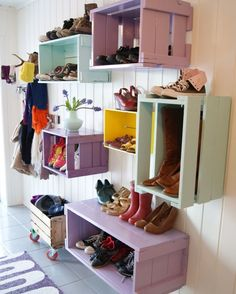 DIY Crates for Shoe Storage