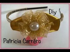 Tiara com flor de organza e strass Headband with organza flower and rhinestone - YouTube