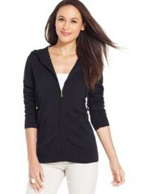 Charter Club Women's New $69.50 Long Sleeves Front-Zip Hoodie Black Sweater S #CharterClub #Hoodie