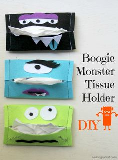 How to make an easy Halloween Craft, the Boogie Monster Tissue Holder. Hold your tissues on the go this cold season with festive Halloween fun! Easy Halloween Crafts, Cute Halloween, Halloween Gifts, Vintage Halloween, Felt Crafts, Fabric Crafts, Sewing Crafts, Diy For Kids, Crafts For Kids