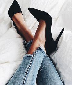 Black Pumps! Low High Jean Hem