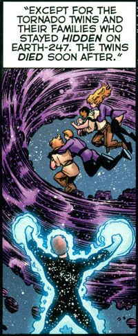 Three Legions help the Allens (the Tornado Twins) save Jenni Ognats and Bart Allen. From Legion of Three Worlds #3 2009(). Art by Georg Pérez.