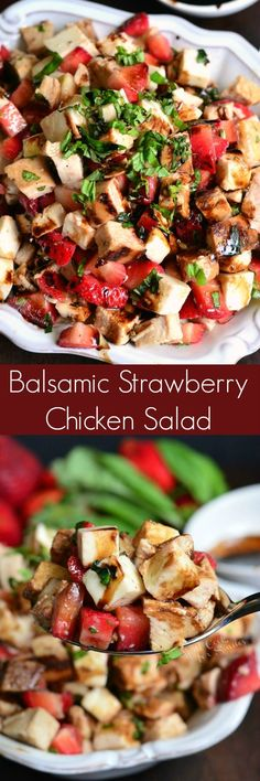 Bright complimentary flavors of chicken fresh mozzarella cheese strawberries basil and balsamic reduction come together in one dish. Salade Healthy, Healthy Salads, Healthy Eating, Healthy Recipes, Simple Recipes, My Burger, Chicken Salad Recipes, Chicken Flavors, Salad Chicken