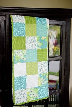 Simple green and blue baby quilt---love the color combination!