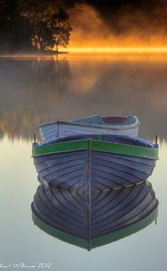 Early morning mist at Loch Rusky near Callander, Scotland