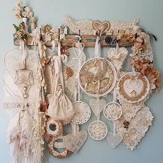 Gold and white Christmas wreath, vintage crochet doily, lace, dream catcher @littleprairiesparrow on Instagram