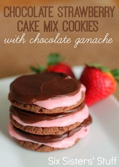 Chocolate Strawberry Cake Mix Cookies with Chocolate Ganache from SixSistersStuff.com.  This cookie is so simple to make and tastes amazing!  You won't believe how easy it is to make! #recipes #dessert #cookies