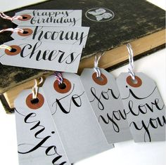 Simple hand lettered gift tags with baker's twine