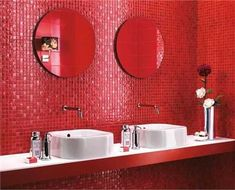 Modern wall tiles designs in red colors look striking and exciting. Red colors bring passion, energy into modern bathroom design. Wall tiles in red colors challenge quiet bathroom design, bringing a s Red Bathroom Accessories, Red Bathroom Decor, Bathroom Shower Curtains, Red Bathrooms, Bathroom Ideas, Bathroom Towels, Modern Bathroom Design, Bathroom Interior Design, Wall Tiles Design