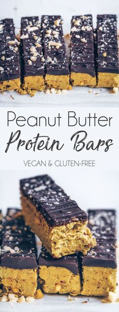 Peanut Butter Protein Bars I love having protein bars at home to snack on, but the shop bought ones tend to be really expensive (especially the plant-based ones) and not very easy to find! I… snacks, Peanut Butter Protein Bars Vegan Protein Snacks, Peanut Butter Protein Bars, Healthy Protein Snacks, Protein Bar Recipes, Protein Desserts, Protein Cake, Protein Powder Recipes, Healthy Bars, Snack Recipes