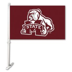 BSI Products NCAA Car Flag with Wall Bracket NCAA Team: Mississippi State Bulldogs - Bulldog