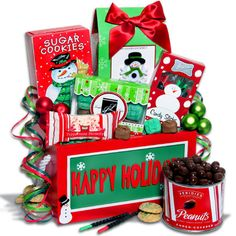 """Holiday Sweets Treats Gift Crate Christmas Gift Basket. A new star in our collection of Christmas gift baskets, this outstanding design features a high-quality """"Happy Holiday's"""" gift crate loaded with delicious holiday treats for your lucky recipients. Inside they'll find amazingly delicious snowman sugar cookies, French mints, cinnamon mint candy sticks, peppermint divinity, chocolate covered peanuts, and eggnog spice cookies. And long after the? open and enjoy? holiday snacks are gone, the…"""