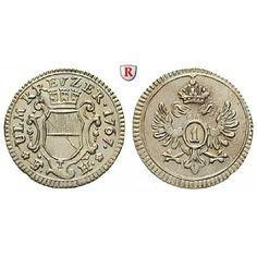 Ulm, Reichsstadt, Kreuzer 1767, vz: Kreuzer 1767 Augsburg. Mit Mauerkrone verzierter Stadtschild / Doppeladler. Nau 170; vorzüglich,… #coins