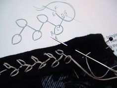 "Stitching Binding - ""rosebud"" or ""chained feather"" stitch"