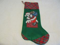 Christmas Stocking with appliqued Santa by KaTerryTheSewSisters