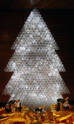 Christmas tree at Riu Don Miguel in Gran Canaria, Spain made with recycled bottles - eco decs - Christmas decs