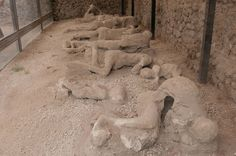 The discovery of this ancient workshop and the remains of four individuals adds to the hundreds of other bodies, or body imprints, excavated in Pompeii. Many of those victims likely died from heat shock when the pyroclastic flow from Mount Vesuvius sent sizzling hot air through the city. The ash from the eruption rained down on the Roman city and essentially froze it in time.