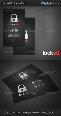 Locked #Business #Card - Corporate Business Cards Download here: https://graphicriver.net/item/locked-business-card/306531?ref=Suz_562geid