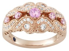 Vanna K (Tm) For Bella Luce (R) .96ctw Pink & White Round 18k Rose Gold Over Sterling Silver Ring