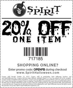 #Coupon - 20% Discount on Haloween Items at Spirit