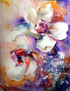Orchids - bright watercolor painting, picture of flowers, happiness  http://ranrog.ru/en/Watercolors.aspx#